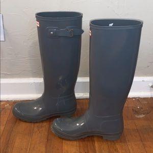 Hunter women's original tall rain boots - gray